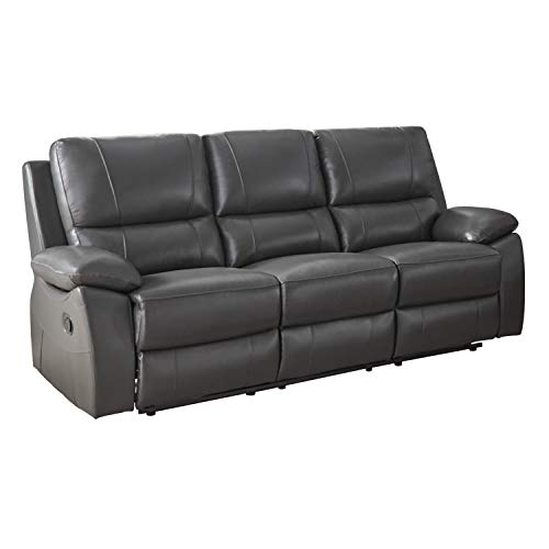 """Lexicon Bisson Leather Match Double Reclining Sofa, 79"""" W, Gray"""