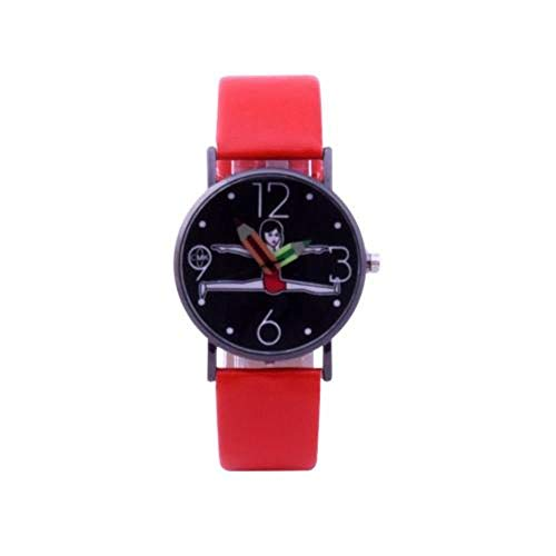 ASZXCASAF Girls Cute Gymnastic Dial Pencil Hands Faux Leather Quartz Analog Wrist Watch New Ladies Dress Watches Gift,Red  Black