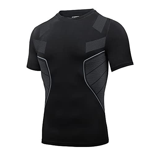 AMZSPORT Camiseta de Compresión para Hombre, Camiseta de Gimnasia de Manga Corta Capa Base de Secado Rápido, Negro XXL