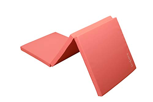 Tri Folding Gymnastic Mat Lightweight Portable Easy Maintenance Great for Yoga Pilates Aerobics Martial Arts 75 inches x 24 inches x 1.5 inches Pink