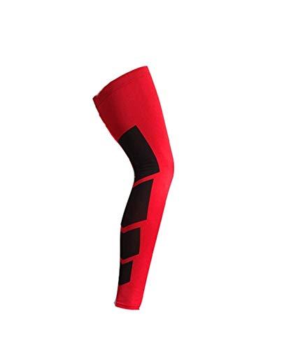 1 Super Stretch Lycra Basketball Leggings Kompression Ärmel Kniestütze Fußball Volleyball Ride - Rot, L