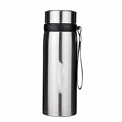 ZZGWJ Frasco de vacío de Acero Inoxidable, Botella de Agua al Aire Libre de Gran Capacidad, Olla de Aislamiento de Viaje de Coche portátil Grande 600 / 1000ml-Plata_1000ml