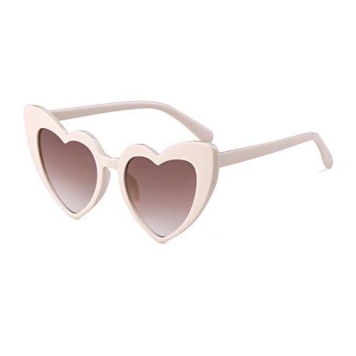 Gafas de sol con forma de corazón, vintage, retro, modernas, con protección UV de gran tamaño, para mujer