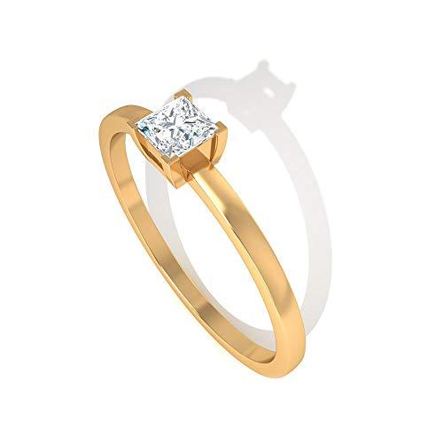 Anillo de compromiso con diamante certificado IGI de 0,25 ct, para mujer, simple, para novias, bodas, aniversarios, para uso diario, para el día de la madre, regalo, 14K Oro amarillo, Size:EU 44