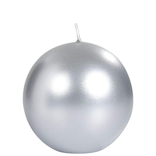 Spaas S0636005078 Metallic Unscented Festive Ball Candle 80 mm, ± 25 Hours, Silver