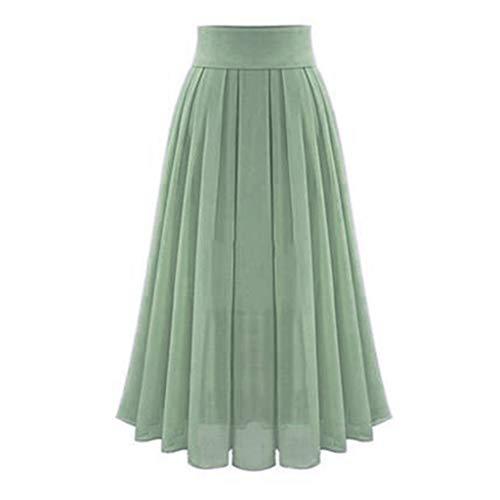 Women's Tulle Maxi Skirts  Elegant Chiffon Party Dress  High Waist Solid Pleated Long Skirt (XL, Green)