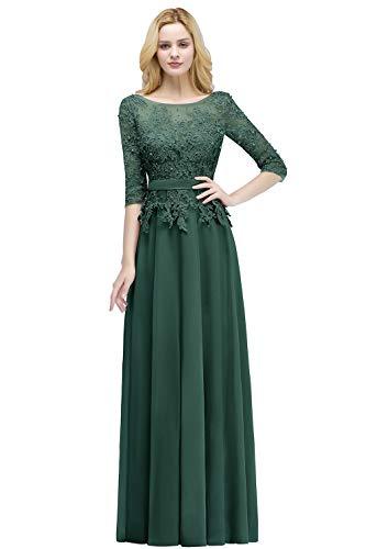 MisShow Damen Elegant Rundausschnitt Abschlusskleider lang Abendkleider Lang Damen Abiballkleid...