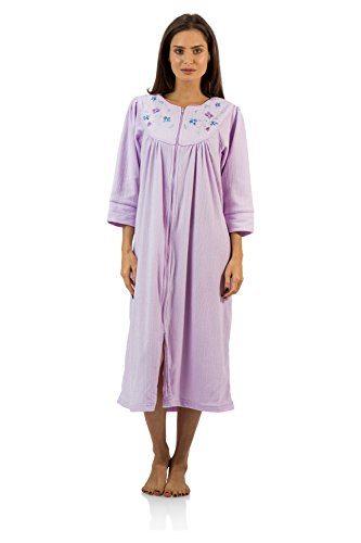 Casual Nights Women's Zipper Front Jacquard Fleece Long Robe Duster - Purple - X-Large