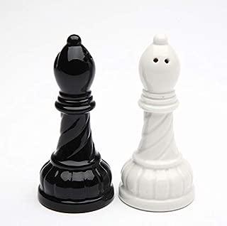 Fine Porcelain Black & White Chess Bishop Salt & Pepper Shakers Set, 3-3/8