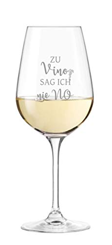 KS Laserdesign Leonardo Weinglas mit Spruch '' zu Vino sag ich nie NO '' mit Gravur - witzige Geschenkidee, Weinliebhaber, Geburtstag, Weihnachten, Lieblingsmensch
