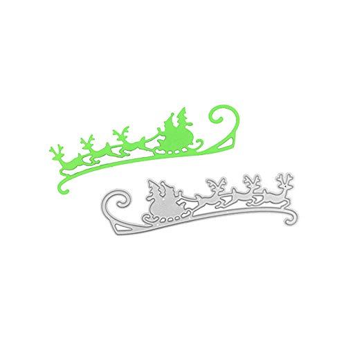 Christmas Deer Sledding Metal Cutting Die, Die Cuts Stencil Cutting Template Moulds Scrabooking Supplies for Invitation Card Making, Paper Crafting, Envelope, Emboosing, DIY Photo Album