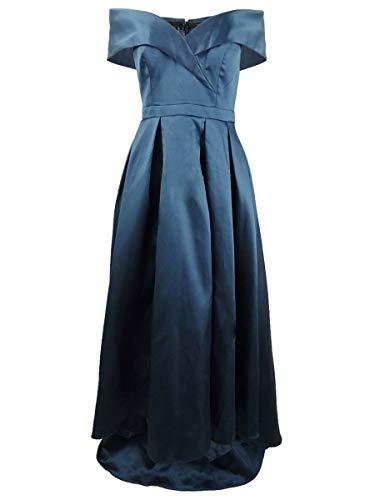 Xscape Women's Dress High-Low Off-Shoulder Pleated Gown Blue 12