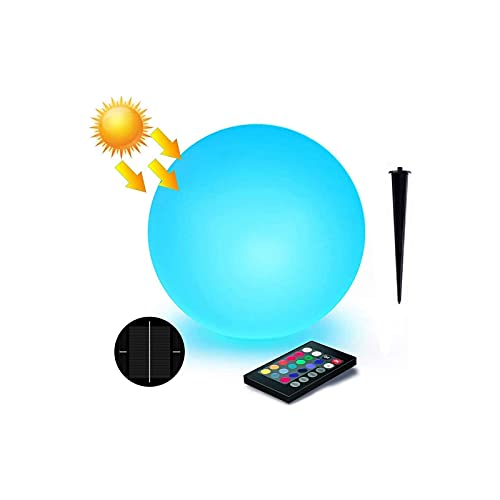 LOFTEK Solar Floating Pool Lights Ball, 8-inch 16 RGB Colors Dimming Waterproof Outdoor Decorative Light with Remote Control, Solar or USB Cable Charging LED Glow Sphere, Perfect for Pool, Garden