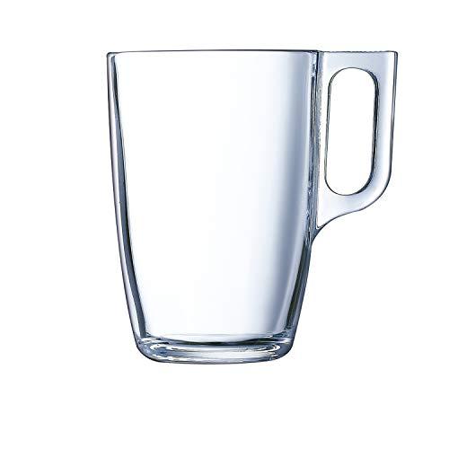 Luminarc Nuevo Set 6 tazas desayuno mugs café de vidrio para microondas 32cl, Negro