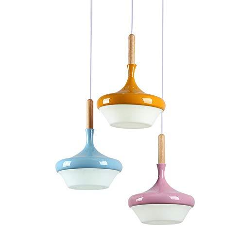 ZZYJYALG Industrial moderna Macarons Edison luces colgantes triples Lámpara retro Luz de techo empotrada Personalidad creativa Cafe Cafe Lámpara de hierro Púrpura/Azul/Naranja Sombra