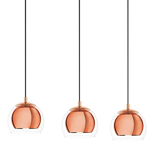 EGLO Ceiling light Rocamar with 3 lampshades, pendant lighting made of copper-coloured steel and clear glass, hanging lamp for dining table and living room, E27 socket, L 30.7 inches