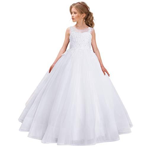 CQDY Abiti da Bambina con Fiore Bianco Abiti da Sposa Ragazza Abiti da Damigella d'Onore Festa da Principessa Prom Abito da Battesimo Bianco