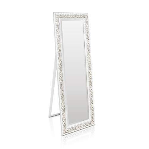 Shabby Chic Wandspiegel - 130 x 45 cm - Groer franzosischer Standspiegel im Vintage Stil - Antik Wei und Silber