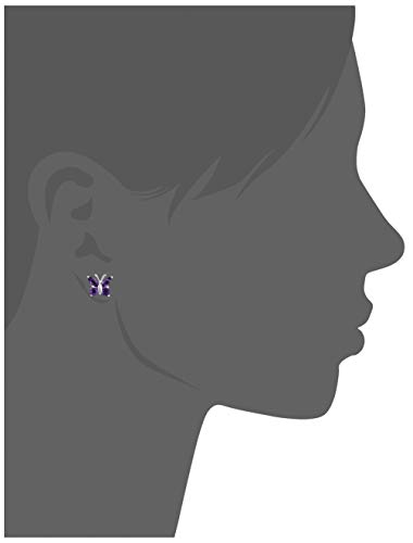 Amazon Collection Sterling Silver Genuine African Amethyst Butterfly Stud Earrings
