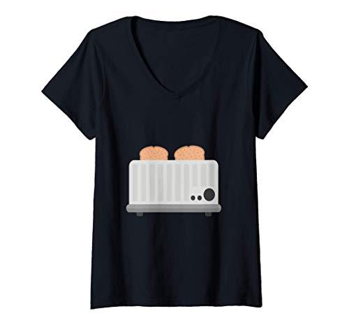 Mujer tostadora de cocina Camiseta Cuello V