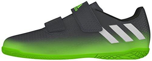 adidas Unisex-Kinder Messi 16.4 IN J H&L Fußballschuhe, Grau (Dark Grey/Silver Met./Solar Green), 35 EU