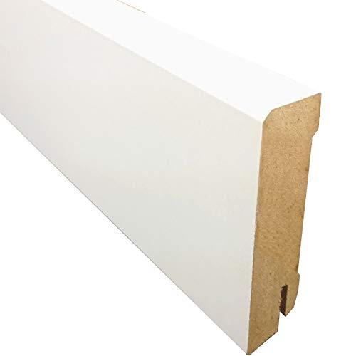 weiße Sockelleiste für Parkett-/Laminat- und Vinylböden - Höhe: 70 mm - Tiefe: 18 mm - Sie kaufen 1 Stück mit 250 cm Länge (Höhe: 70 mm - Länge: 250 cm)