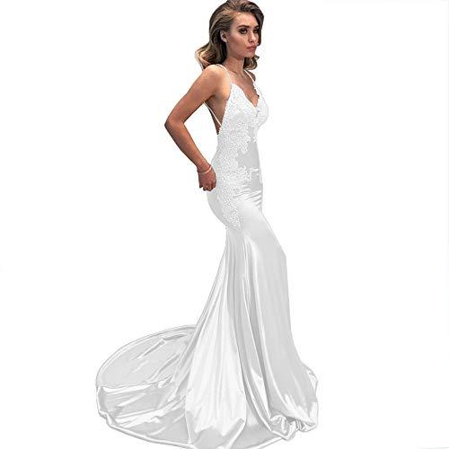 M Bridal Women's Lace Appliques Mermaid Long Train Prom Dresses Open Back Evening Gowns White US20