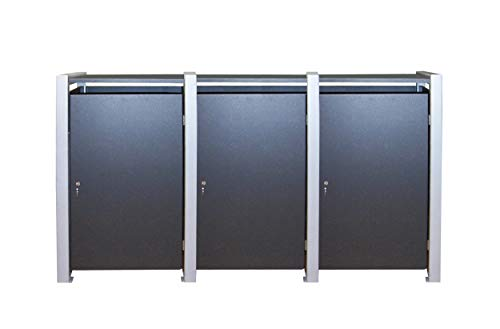 Gero metall Mülltonnenschrank Müllbehälterschrank für DREI 240 Liter Tonnen