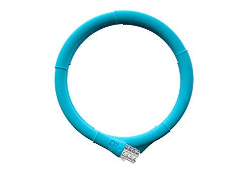 VOLO Bambus Fahrrad-Kabelschloss, 4-stellige Spiral-Kombinations-Kabelschlösser, Silikon-beschichtet, Diebstahlsicherung mit Durchmesser 13 mm x 100 cm, blau - Peacock Blue