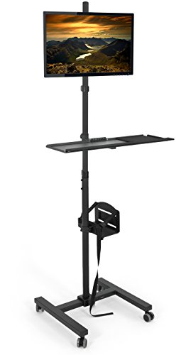 VIVO Mobile Computer Cart, Rolling Stand, Adjustable Monitor Mount with 32 inch Case Holder and Keyboard Tray, Moving Workstation, Black, CART-PC02T
