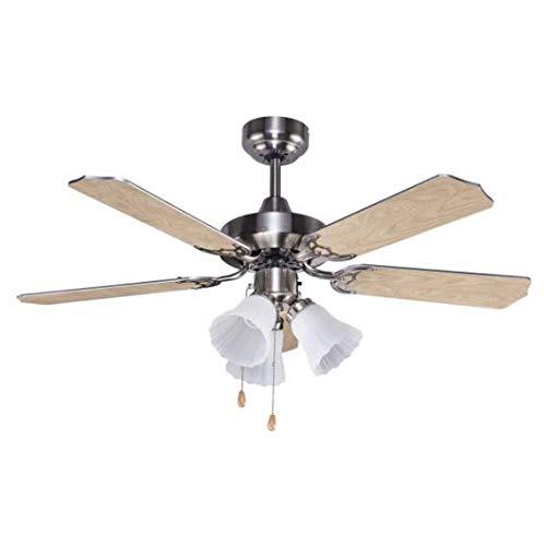 Promocion ventilador de techo con luz GARBIN niquel, Fabrilamp.