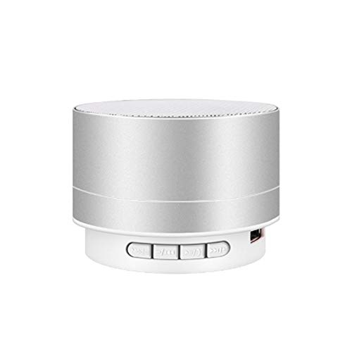 LANKOULI Bluetooth Lautsprecher bass mit dualen treibern kabelloser flip Musik abspielen portabler USB Karte Mini Metall (Silber)