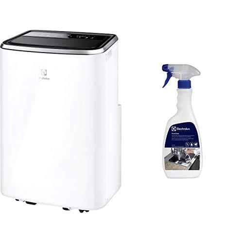 Electrolux EXP26U538CW ChillFlex Pro 11 A+ Climatizzatore Portatile, 11K BTU, Classe A+, Silent 45db(A), 1000 W, 45 Decibel, Bianco + ECS01 - Spray Detergente per Condizionatori PureCare, 500 ml