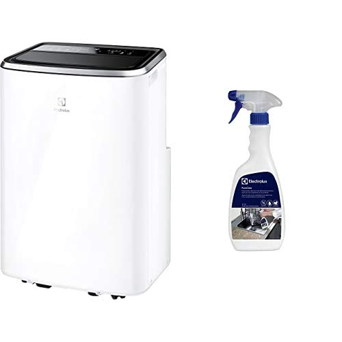 Electrolux EXP34U338CW ChillFlex Pro 14 A Climatizzatore Portatile, 14K BTU, Silent 45 db (A), Gas R290, 1500 W, 45 Decibel, Bianco + ECS01 - Spray Detergente per Condizionatori PureCare, 500 ml