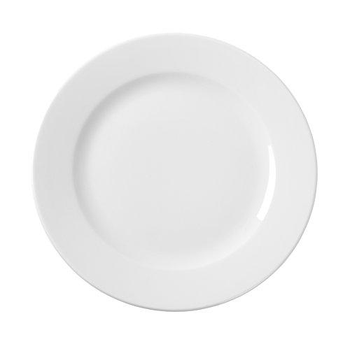 HENDI Teller, Flach, Verstärkte Kanten, hochwertige Glasur, Hohe Schlag- und Verschleißfestigkeit, geeignet für Mikrowelle, Geschirrspüler, ø160mm, Weiß Porzellan
