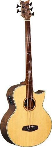 Ortega Guitars KTSM-5FL Akustikbass 5-Saiter fretless Ken Taylor elektrifiziert natur hochglänzendes Finish mit hochwertigem Gigbag , Ledergurt und Straplocks