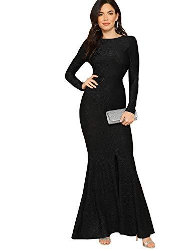 Verdusa Women's Elegant Open Back Slit Glitter Bodycon Cocktail Party Long Dress