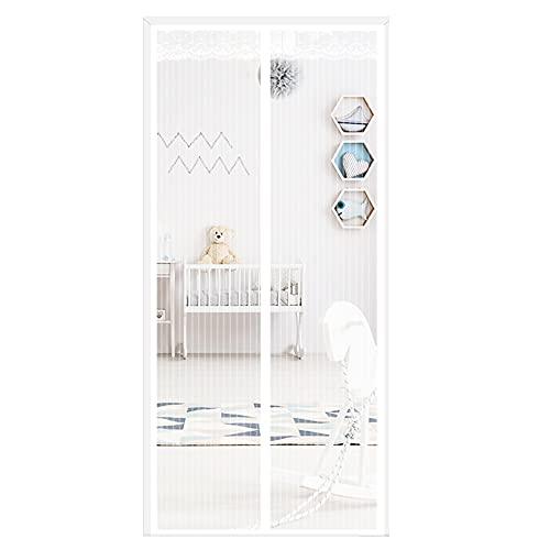 Puerta mosquitera mejorada, puerta de cortina de malla resistente, autoadhesiva, apta para niños y mascotas, con marco completo, para puerta abatible de patio trasero de cocina,Blanco,80 * 190cm