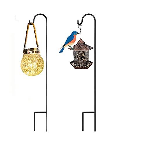 ZVO Shepherds Garden Stake, 120 cm Pastori Crook Grucce con supporto resistente alla ruggine, Staffe impermeabile per matrimoni, mangiatoie per uccelli, cesti per piante gravesites (2 pezzi,nero)