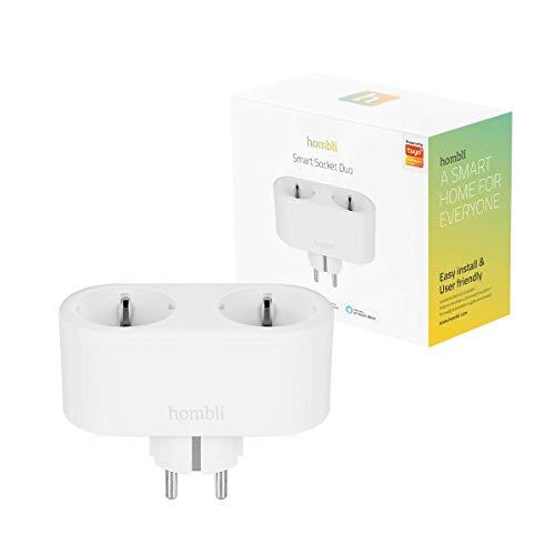 Hombli enchufe inteligente múltiple DUO EU 220-250V, enchufe inteligente WiFi, compatible con Amazon Alexa, Google Home, Control de voz, No se necesita Hub - Alimentado por Tuya