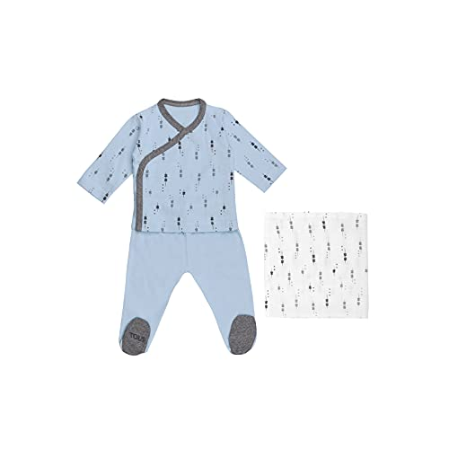 TOUS BABY - Conjunto 2 Piezas para tu Bebé, Recién Nacido. Camiseta y Polaina con Muselina. Estampado Luminary. (Celeste, 1 Mes)