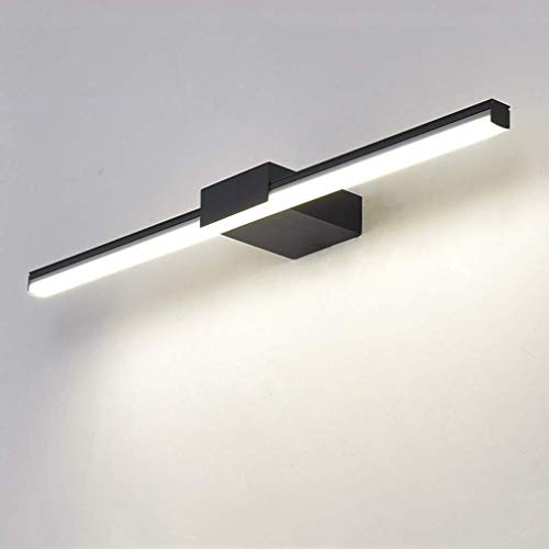 Lámparas de pared de baño 4000K LED Luz de espejo de baño Blanco neutro Aluminio y acrílico Espejo Iluminación frontal de maquillaje para espejo Armario de maquillaje Luz de tocador de baño, Negro, 12