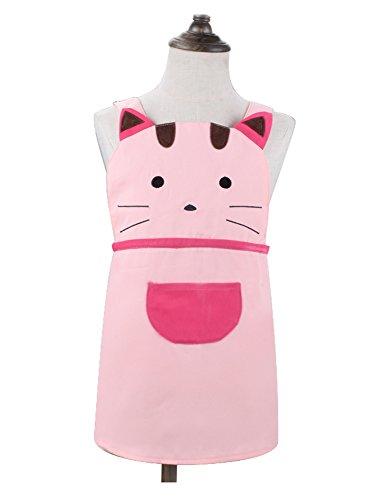 Love Potato Niedliche Schürze für Mädchen und Kleinkinder, Cartoon-Katze, bestickt, Baumwolle, Kinderschürze, Kochen, Backschürze für Kinder von 2–4 Jahren (Pink)
