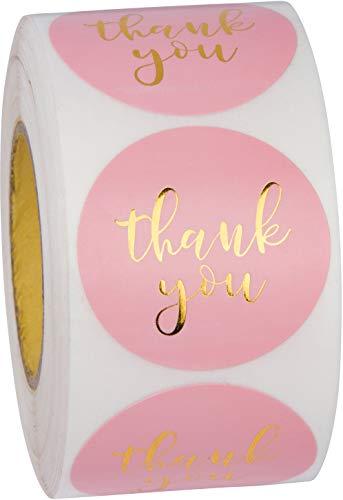 Sweetzer & Orange Pegatinas de Gracias con Letras en Oro - 1.000 Etiquetas Rosa con Papel Cristalino - Para Regalos de Cumpleaños, Navidad, Bolsas de Compra, Paquetes de Galletas, Jabones - 1,5