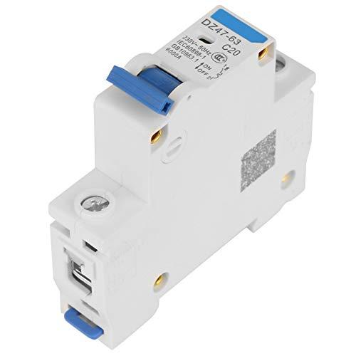 Durable 6KA Retardante de llama Resistente a la oxidación Alta confiabilidad Interruptor automático en miniatura de 1 polo 230V Eléctrico para sistemas de generación de energía(20A)