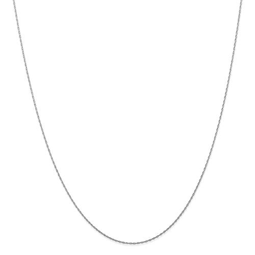 10k White Gold .5 Mm Cable Link Rope Chain Necklace 24 Inch Pendant Charm Carded Fine Jewelry For Women Gifts For Her