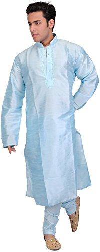 Exotic India Exotic India Plain Wedding Kurta Pajama with Embroidery on Neck - Color Aqua Marine Garment Size 44