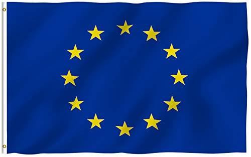 Anley Fly Breeze 3x5 Piedi Bandiera Unione Europea - Colore Vivido e Resistente Ai Raggi UV - Testata in Tela E Doppie Cuciture - Bandiera EU Poliestere Anelli Ottone 3 X 5 Piedi