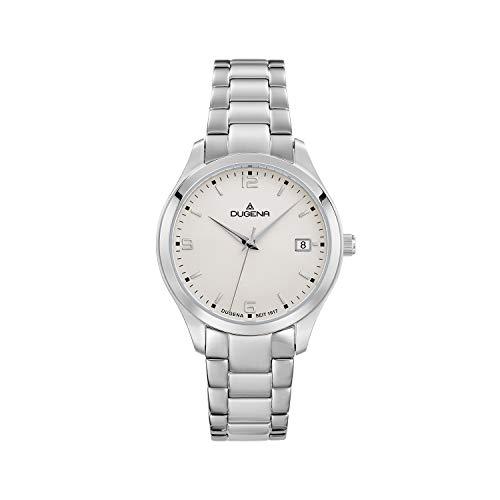 DUGENA Reloj de pulsera para mujer Tresor Woman, cuarzo, esfera blanca, caja de acero inoxidable, cristal de zafiro, correa de acero inoxidable, cierre desplegable, 10 bar
