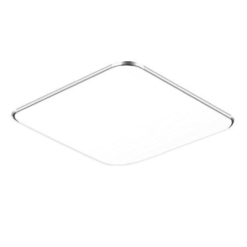 36W Warmweiß LED Modern Deckenlampe Ultraslim Deckenleuchte Schlafzimmer Küche Flur Wohnzimmer Lampe Wandleuchte Energie Sparen Licht Silber